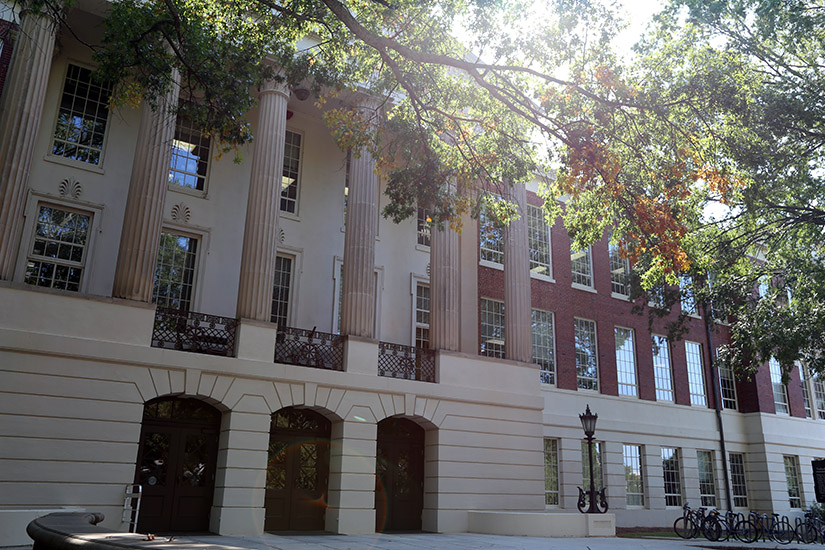 Historic Baldwin Hall stands in the late summer shade